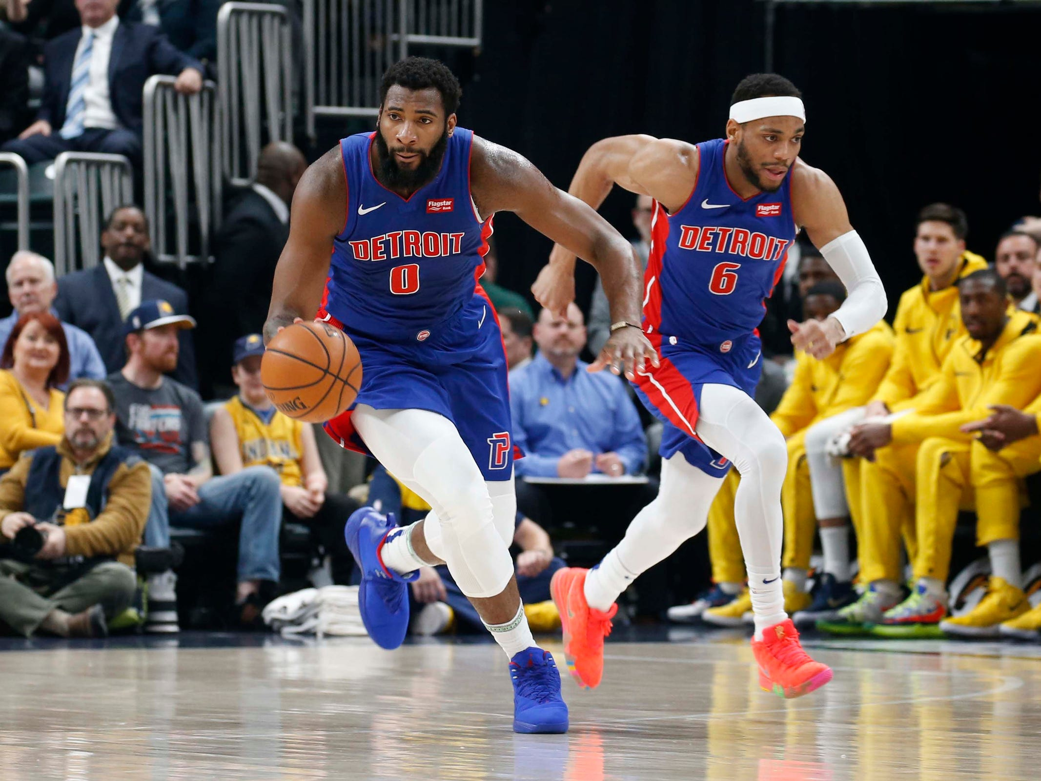 Detroit Pistons center Andre Drummond leads a fast break against the Indiana Pacers during the first quarter at Bankers Life Fieldhouse on April 1, 2019 in Indianapolis.