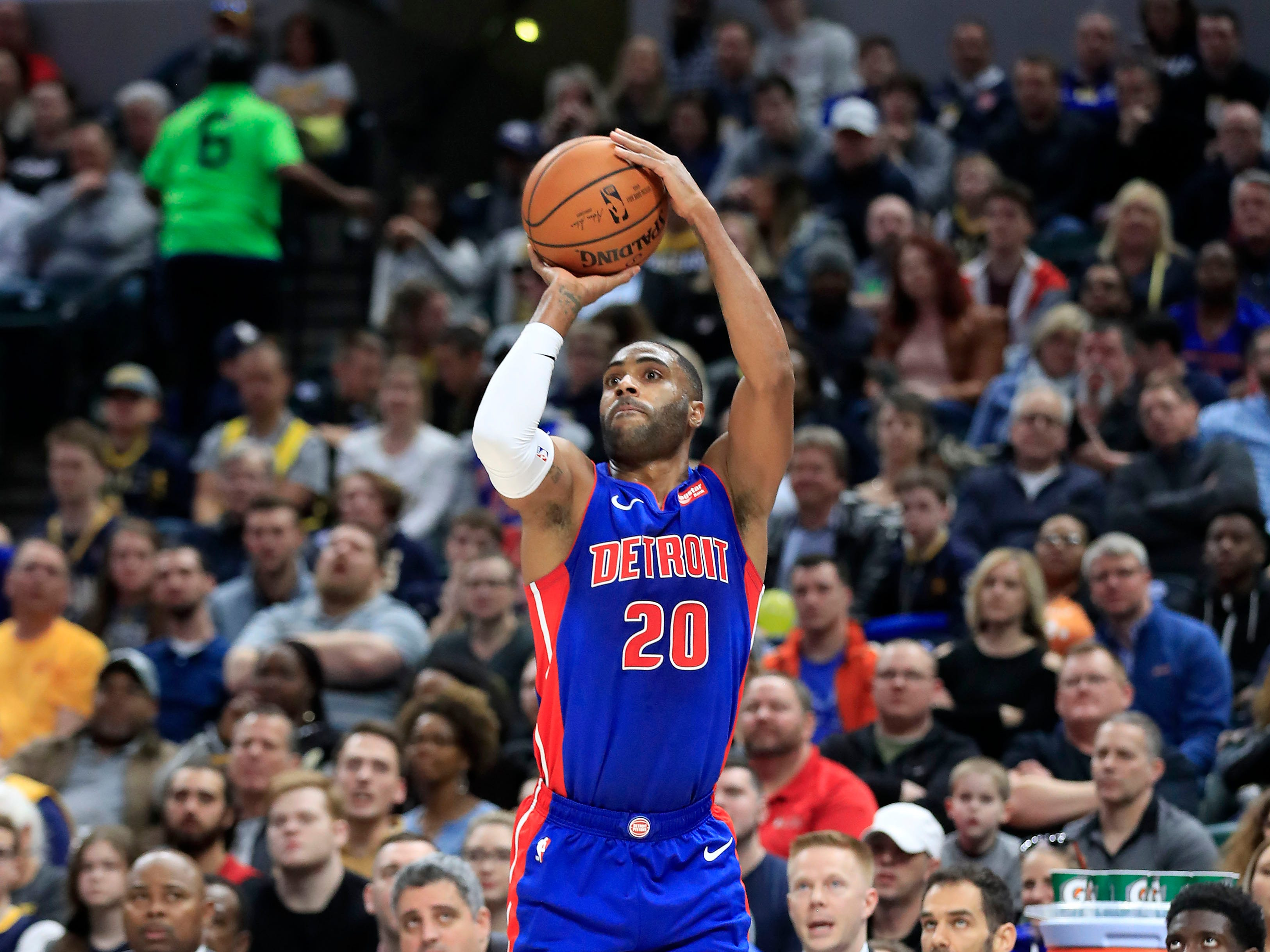 Detroit Pistons' Wayne Ellington shoots against the Indiana Pacers at Bankers Life Fieldhouse on April 1, 2019 in Indianapolis.