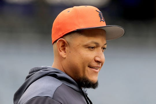 Miguel Cabrera #24 of the Detroit Tigers looks on during batting practice before the game against the New York Yankees at Yankee Stadium on April 02, 2019 in New York City.