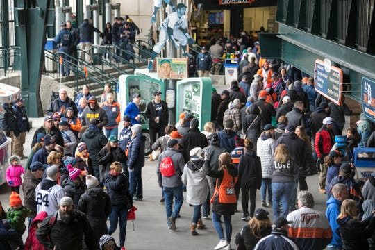 Fans file in before the Detroit Tigers take on the Pittsburgh Pirates at Comerica Park for Opening Day in Detroit Friday March 30, 2018.