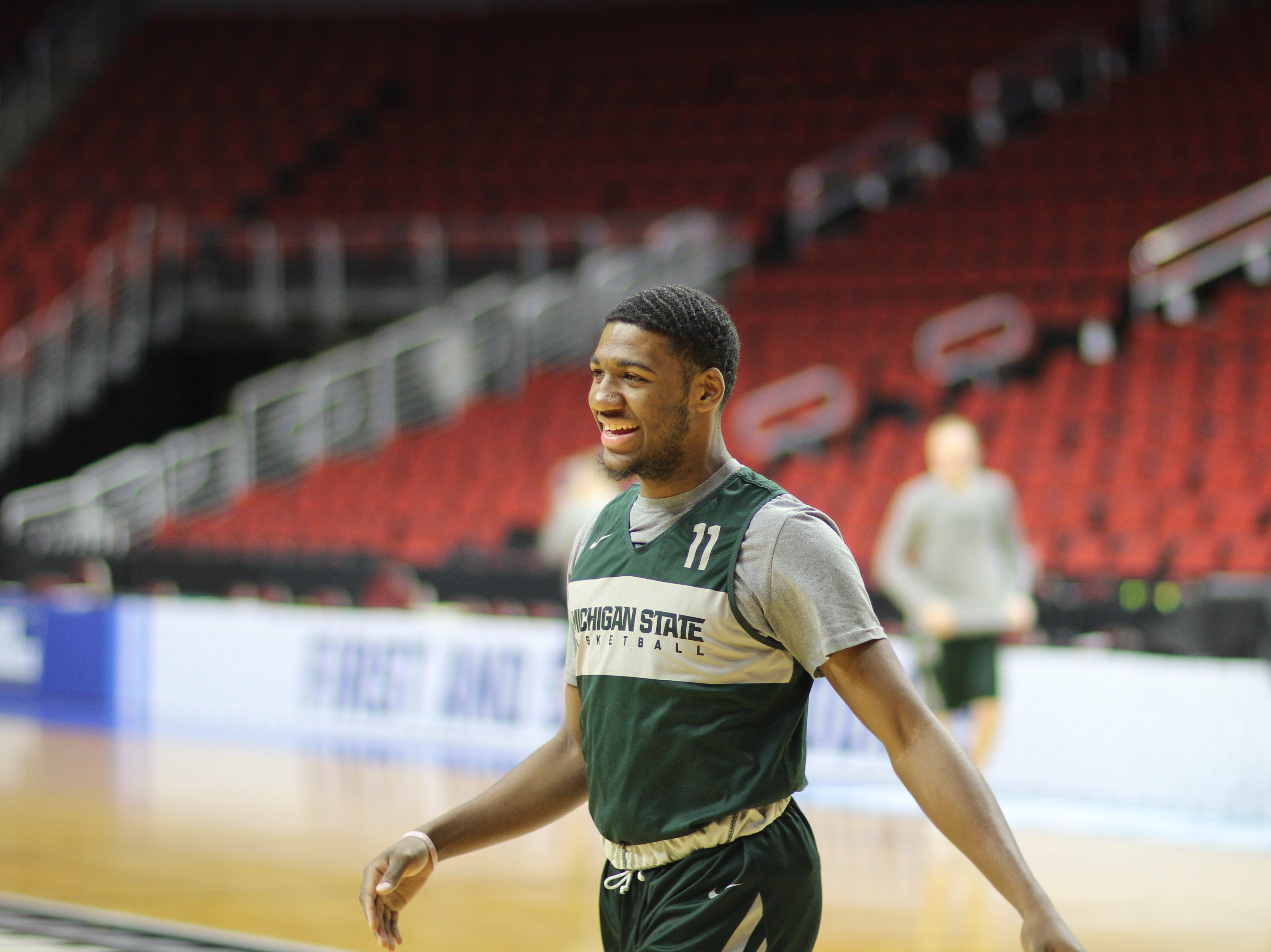 Michigan State guard Aaron Henry during practice.
