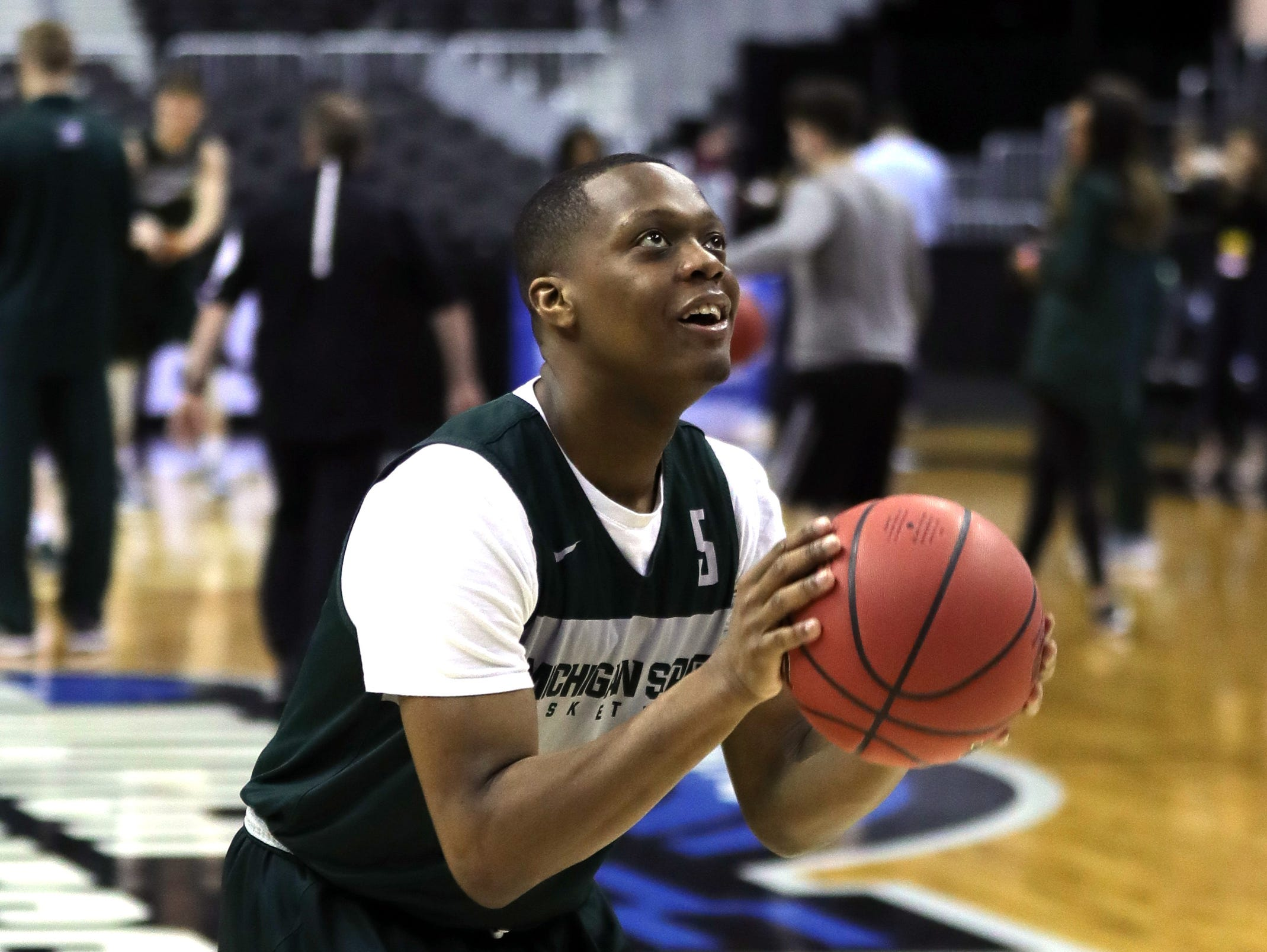 Michigan State guard Cassius Winston practices for their Sweet 16 game against LSU Thursday, March 28, 2019 at the Capital One Arena in Washington.