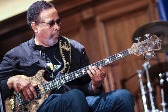 Stanley Clarke performs at the 2019 Detroit Jazz Festival Preview Luncheon on April 2, 2019, at the Detroit Athletic Club.