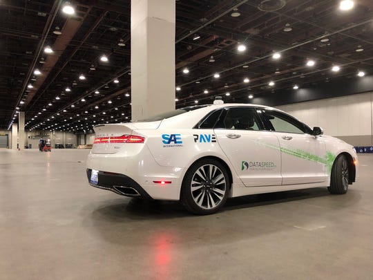 A self-driving car that will be used for test rides at the SAE International's Demo Days in Detroit.