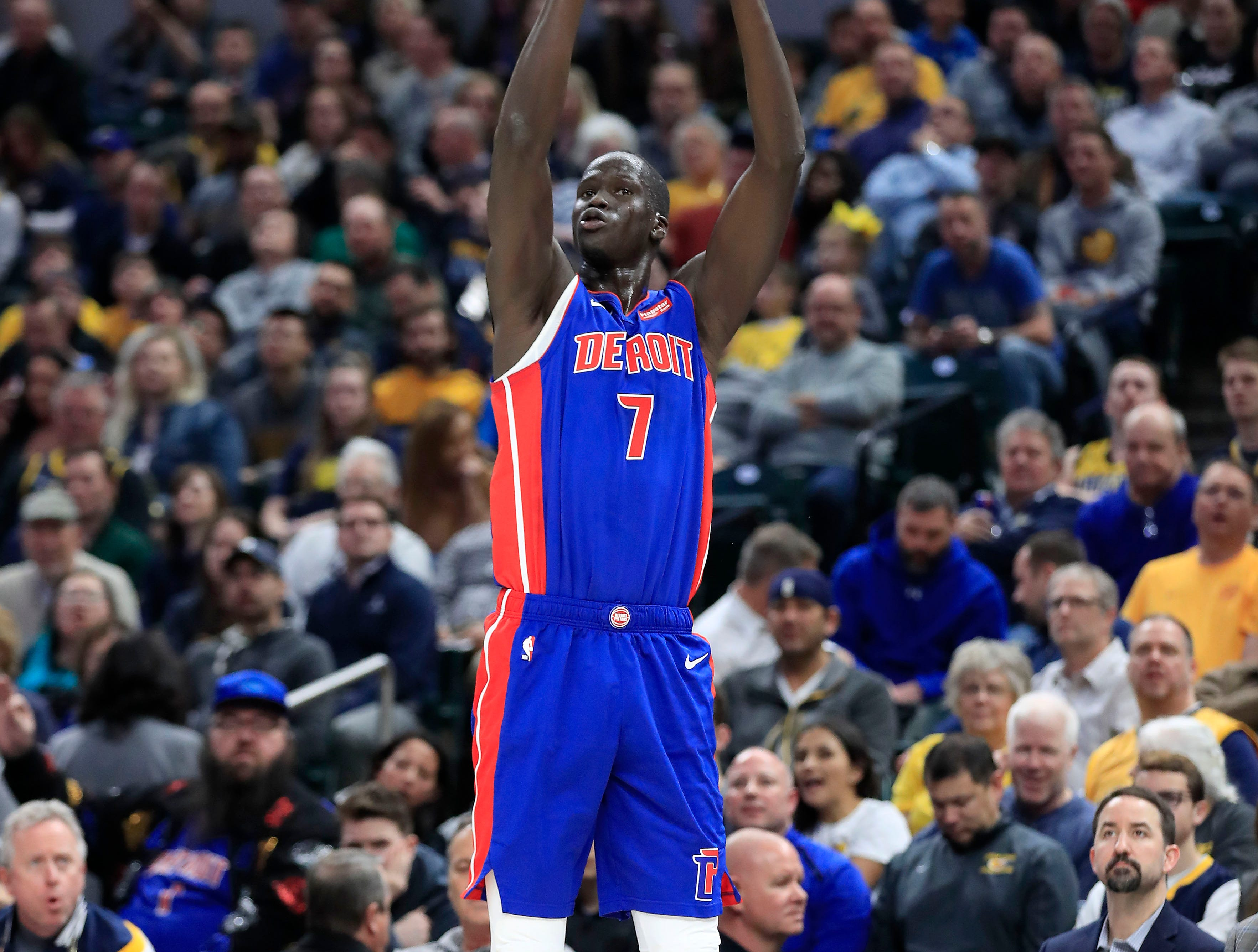 Detroit Pistons' Thon Maker shoots against the Indiana Pacers at Bankers Life Fieldhouse on April 1, 2019 in Indianapolis.