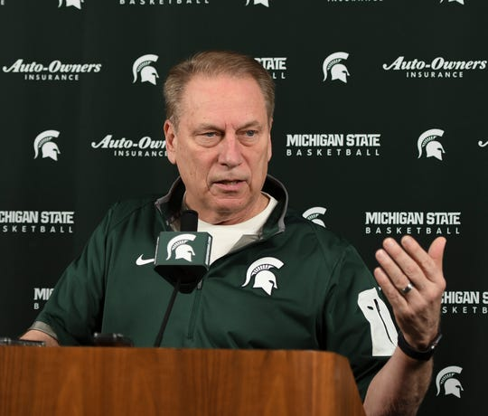 Michigan State basketball coach Tom Izzo speaks to the media on Tuesday, April 2, 2019, in East Lansing.