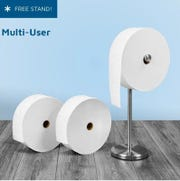 "Charmin is offering starter kits of its jumbo-sized ""Forever Roll."" The kits come with a free toilet paper holder."