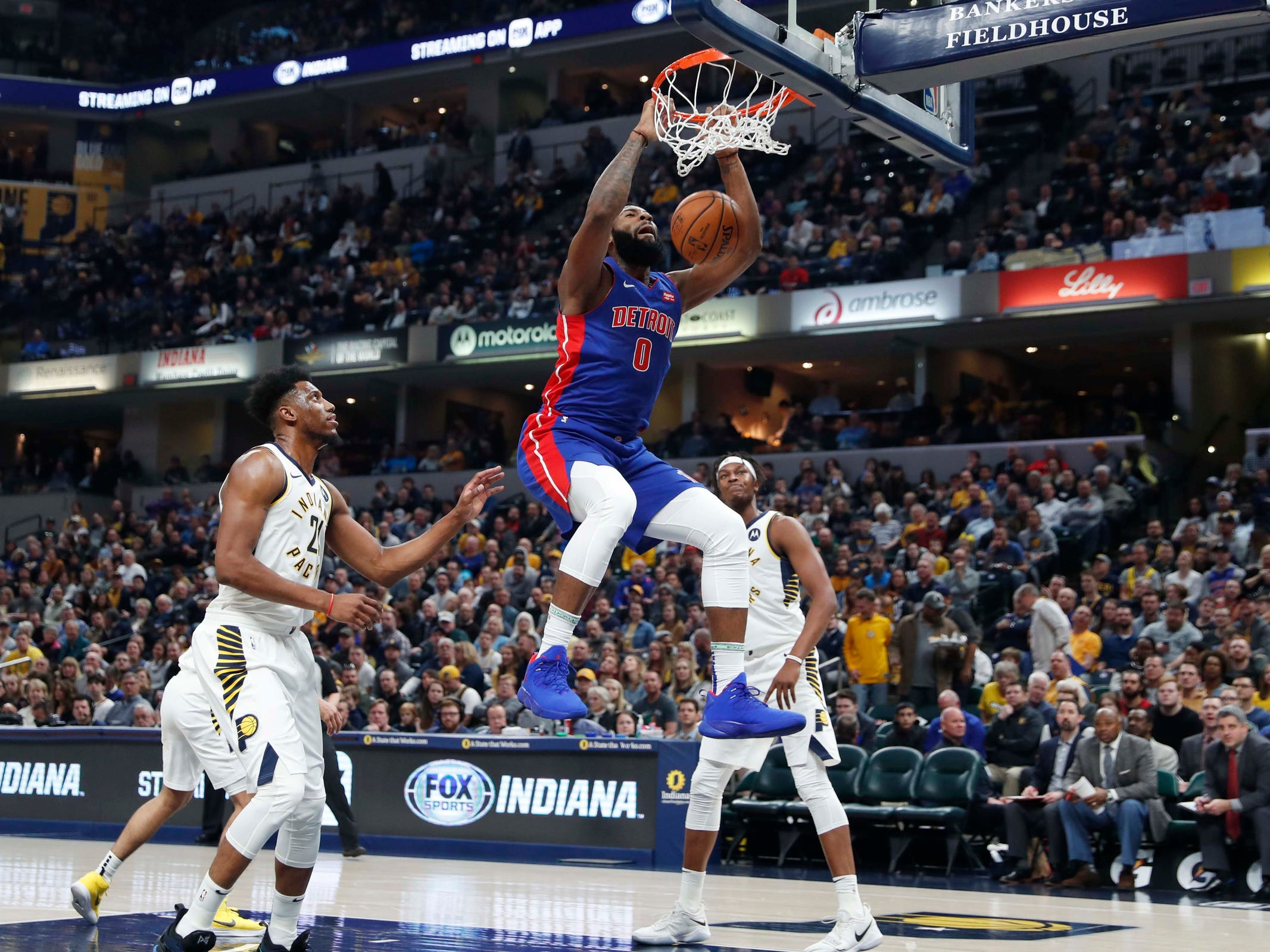 Detroit Pistons center Andre Drummond dunks against the Indiana Pacers during the first quarter Monday, April 1, 2019, in Indianapolis.