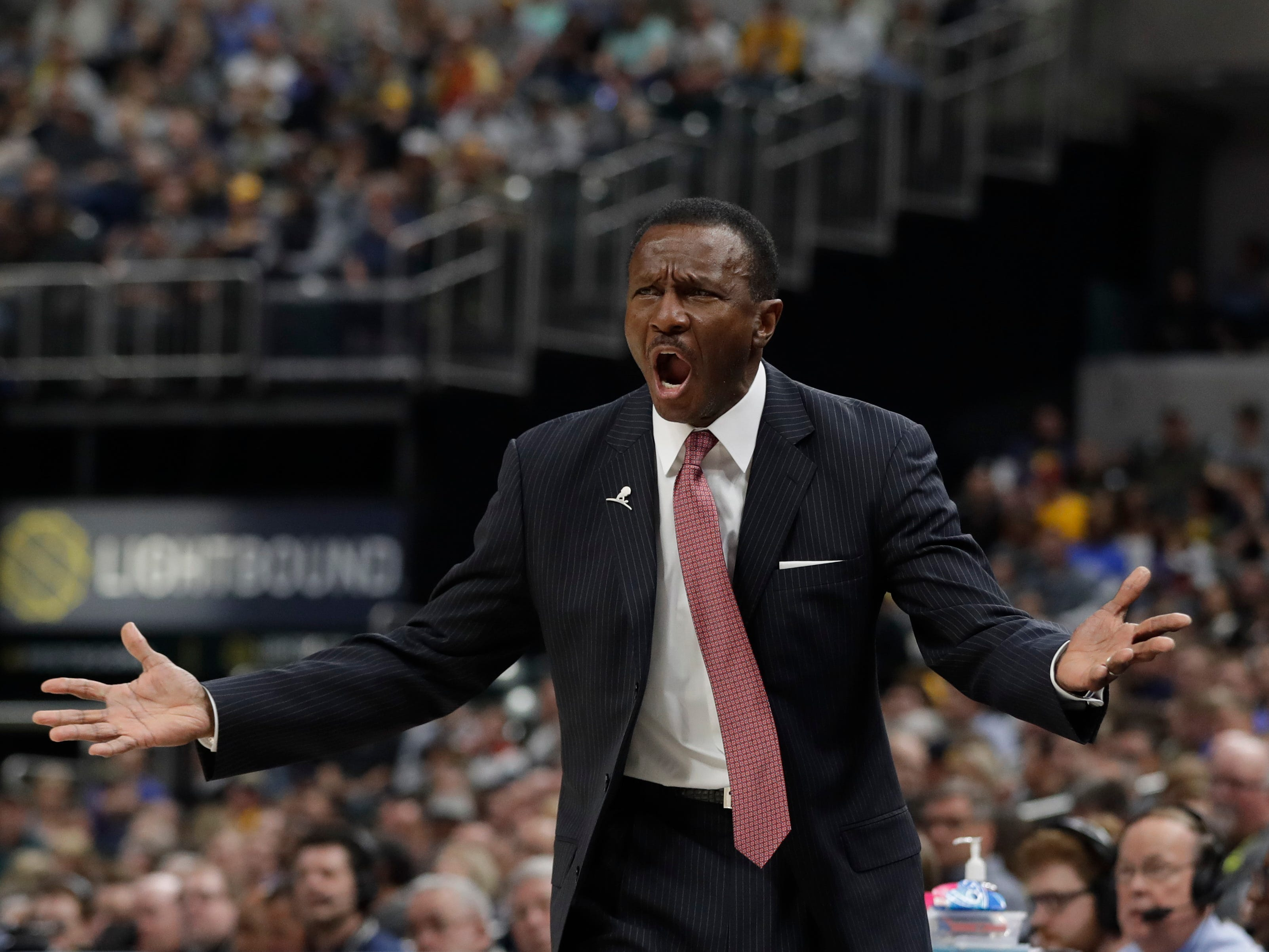 Detroit Pistons coach Dwane Casey argues a call during the first half against the Indiana Pacers, Monday, April 1, 2019, in Indianapolis.