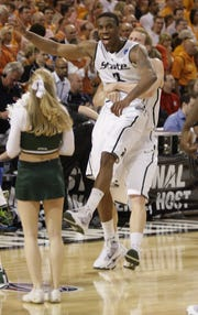 Michigan State's Raymar Morgan celebrates the 70-69 victory over Tennessee in the NCAA tournament regional final in St. Louis on Sunday, March 28, 2010.