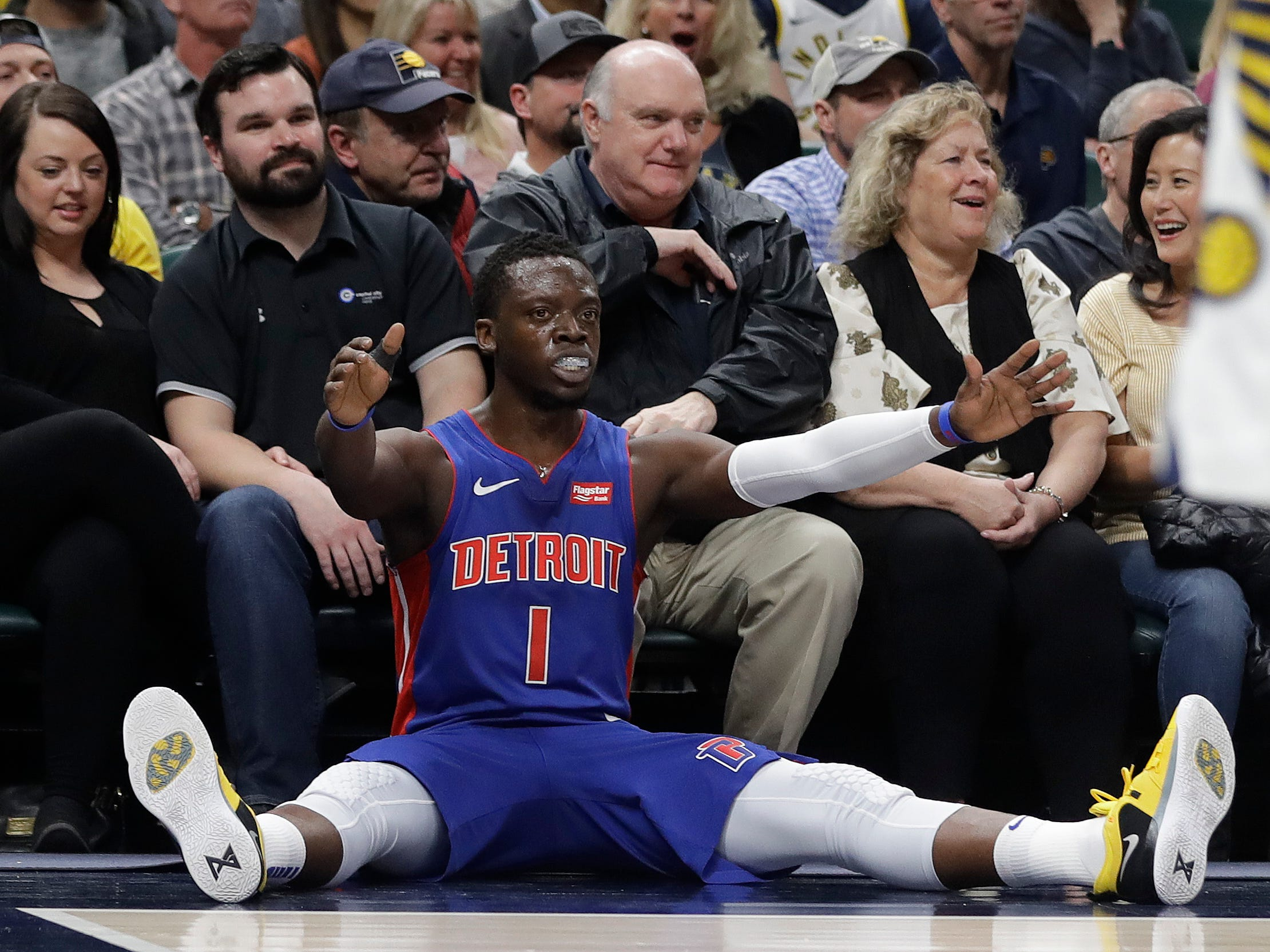 Detroit Pistons' Reggie Jackson reacts after making a shot and getting fouled during the first half against the Indiana Pacers, Monday, April 1, 2019, in Indianapolis.