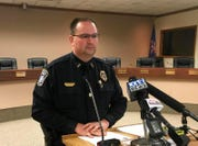 Mandan Police Chief Jason Ziegler speaks at a news conference in Mandan, N.D., Monday, April 1, 2019.