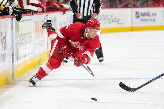 Defenseman Joe Hicketts played eight games with the Red Wings earlier this season.