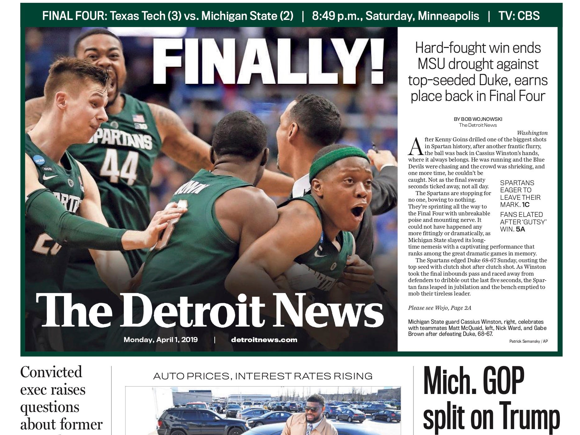 The front page of the Detroit News on April 1, 2019.