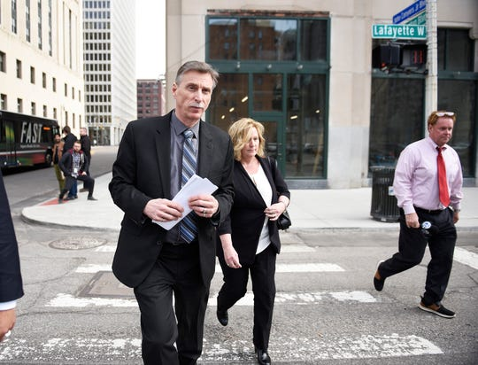 Norwood Jewell leaves the U.S. courthouse in Detroit Tuesday after pleading guilty to breaking federal labor laws.