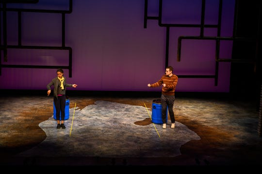 "U-M students Lauren Balone and Julian Schwartz in ""Flint"" by U-M drama professor José Casas, which deals with the city's water crisis."