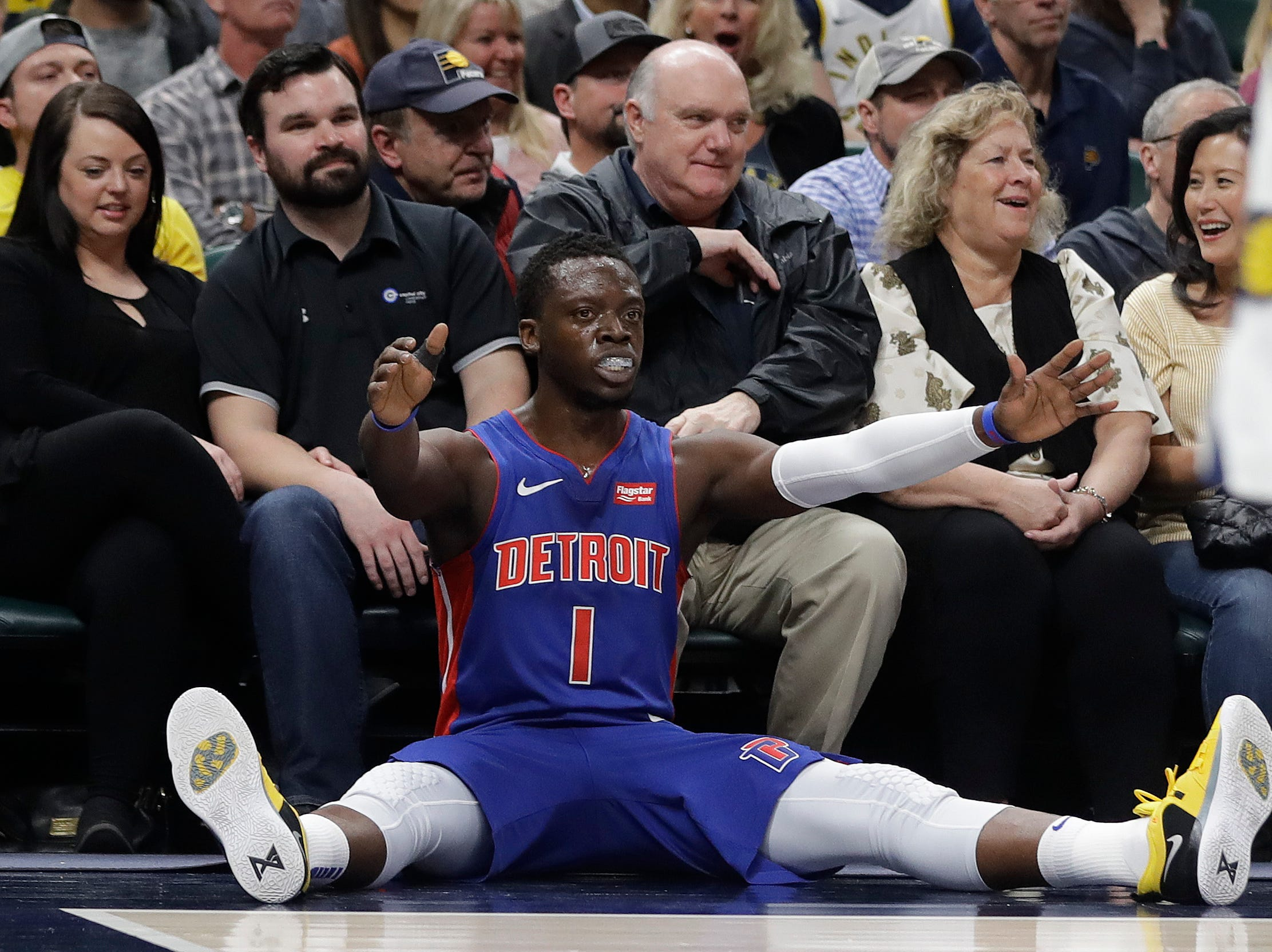 Detroit Pistons' Reggie Jackson (1) reacts after making a shot and getting fouled during the first half of an NBA basketball game against the Indiana Pacers, Monday, April 1, 2019, in Indianapolis.