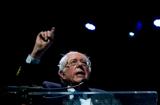 Independent presidential candidate Sen. Bernie Sanders, I-Vt., speaks during the We the People Membership Summit, featuring the 2020 Democratic presidential candidates, at the Warner Theater, in Washington, Monday, April 1, 2019.