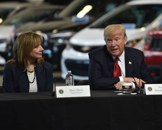General Motors CEO Mary Barra with President Donald Trump