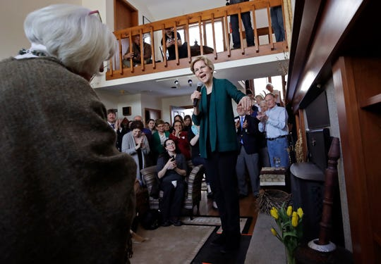 Democratic presidential candidate Sen. Elizabeth Warren, D-Mass., speaks at a campaign house party, Friday, March 15, 2019, in Salem, N.H.