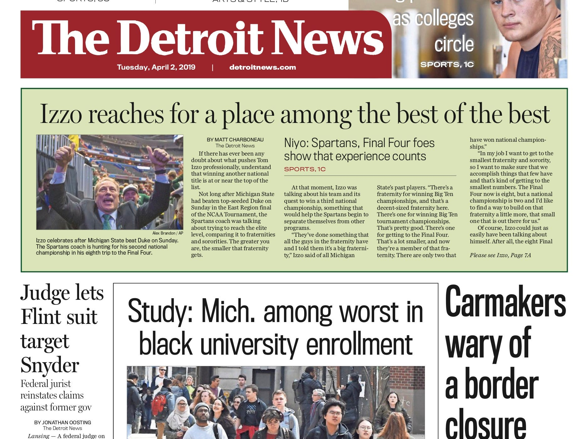 The front page of the Detroit News on April 2, 2019.