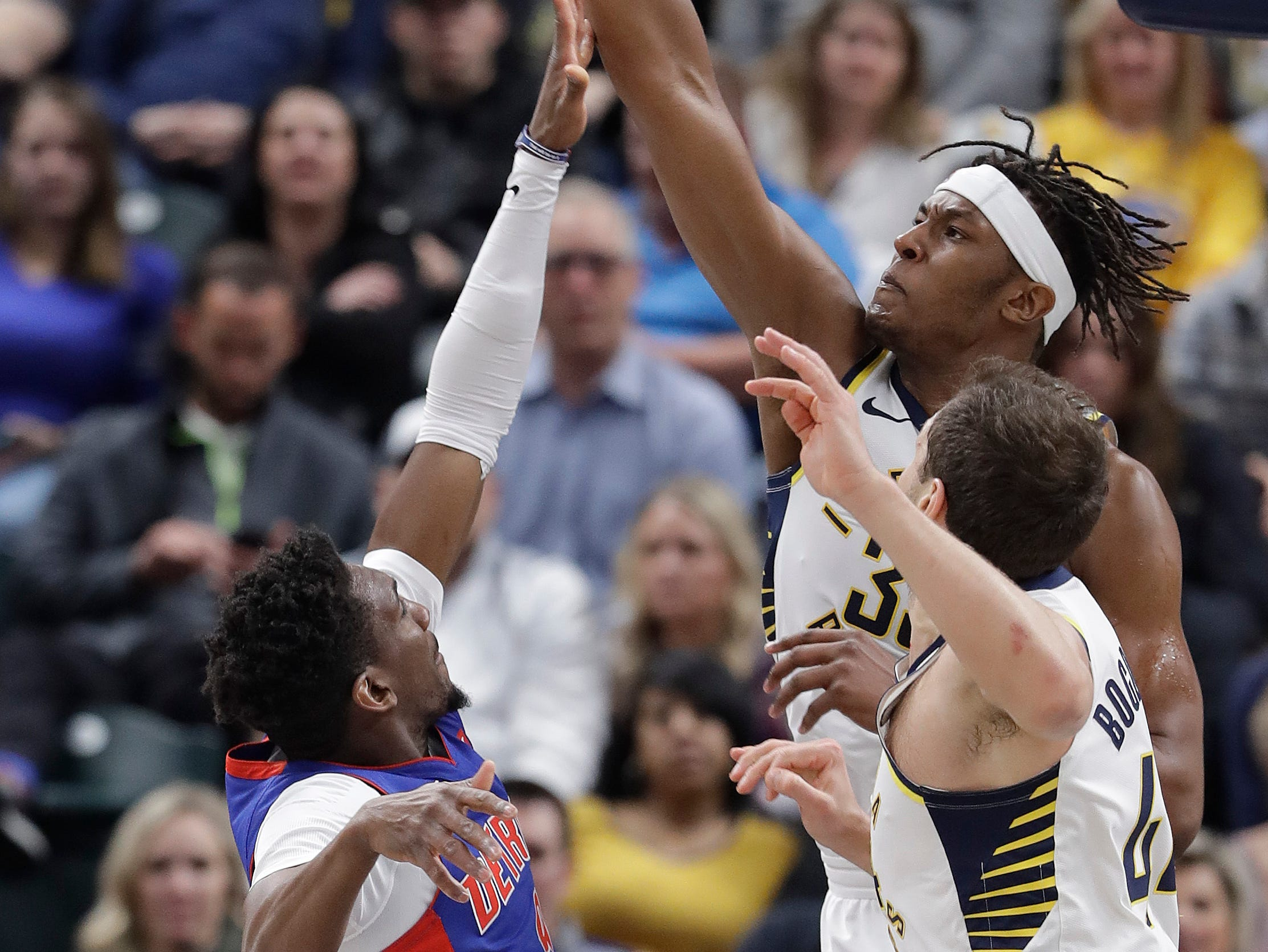 Indiana Pacers' Myles Turner (33) blocks the shot of Detroit Pistons' Langston Galloway (9) during the second half.
