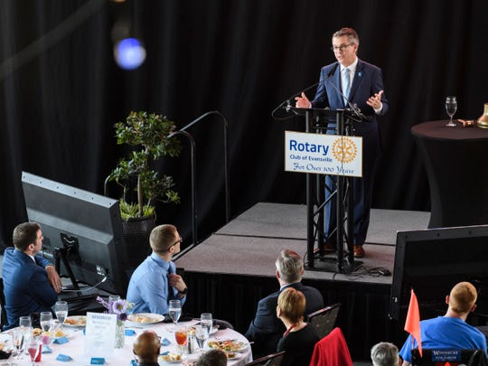 Mayor Lloyd Winnecke hosts his State of the City luncheon during the Rotary Club meeting at Tropicana Riverfront Pavilion in Evansville, Ind., Tuesday, April 2, 2019.
