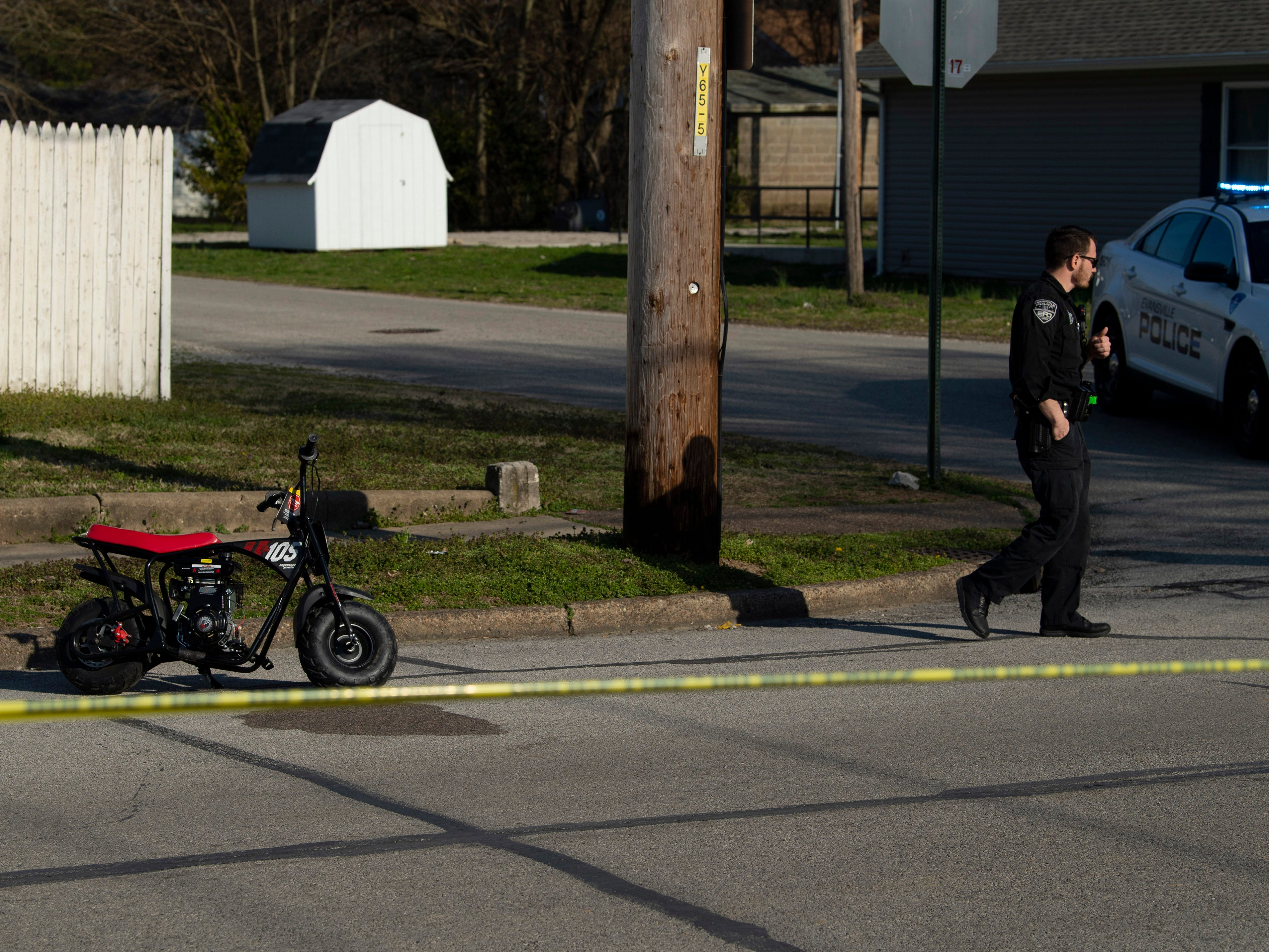 A mini-bike is still intact at the corner of Cass Avenue and Governor Street after it's rider – said to be a boy of about 11 years old by police – allegedly ran a stop sign and ran into a passing Ford Mustang Tuesday evening. The boy was transported by ambulance with what police said didn't appear to be life-threatening injuries. The driver of the car was not arrested, but the accident is still under investigation.