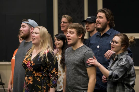 """Spring Awakening"" cast, rehearsing a song from the show."