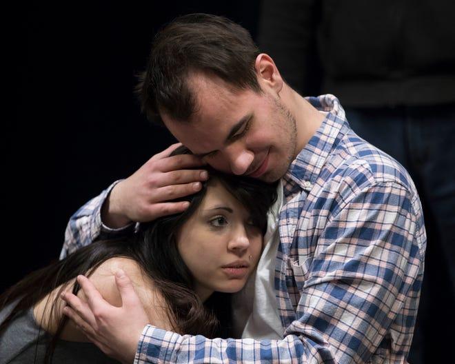 "Mackenzie Gens and Matt Peplinski rehearse a scene from ""Spring Awakening."""