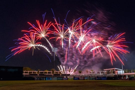 A Fireworks Friday display after a Fort Myers Miracle game at Hammond Stadium.