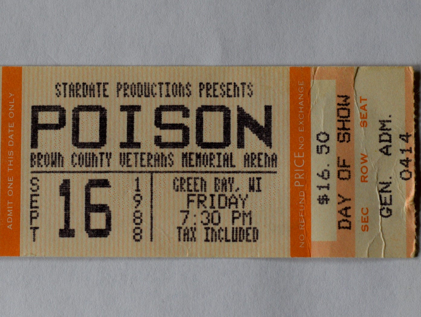 Ticket stub from opening night of Poison's Open Up and Say ... Ahh! Tour at Brown County Veterans Memorial Arena on Sept. 16, 1988.
