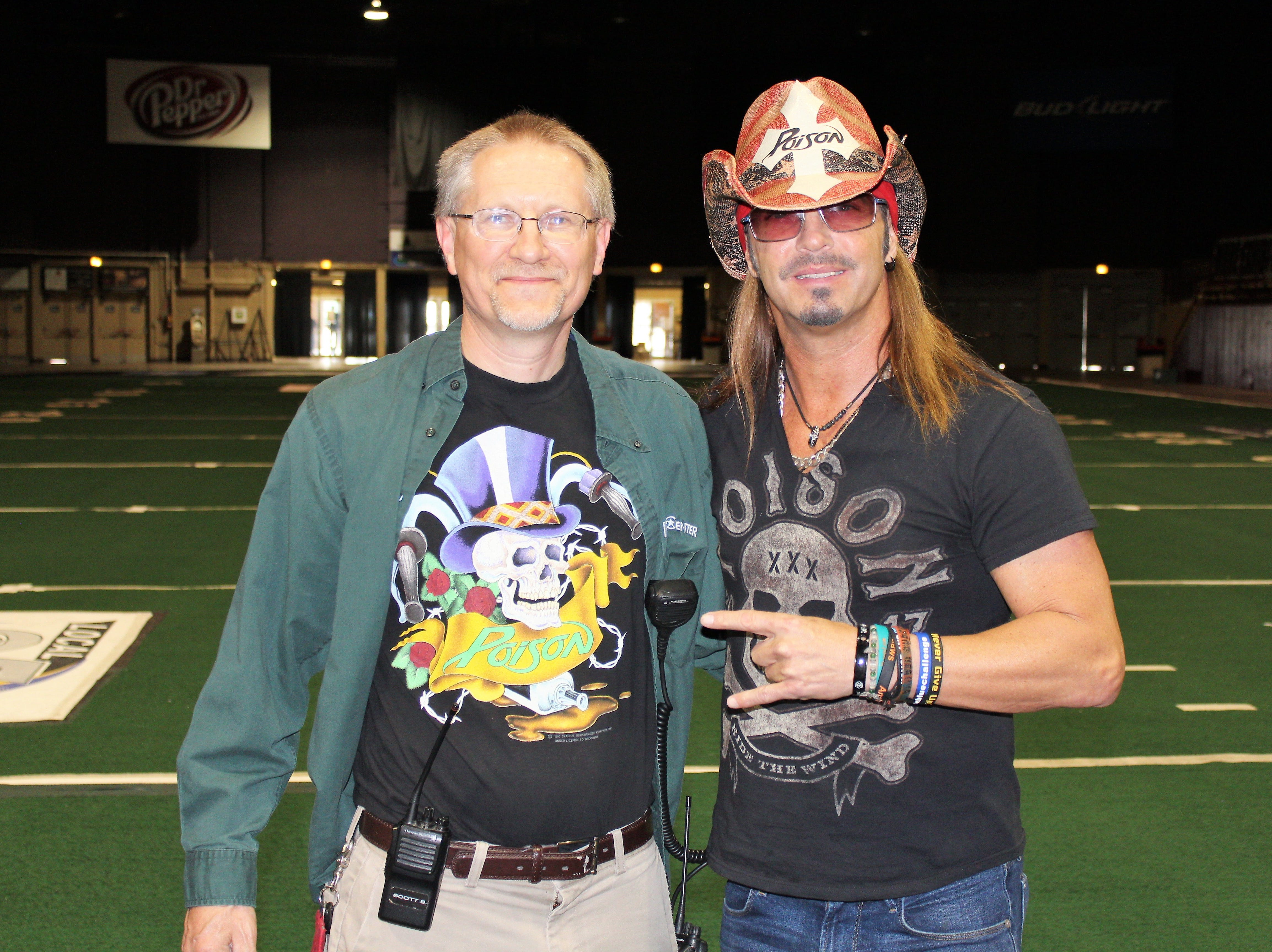 Scott Boesch, event coordinator for PMI Entertainment Group, left, gave Bret Michaels a tour of Brown County Veterans Memorial Arena before Poison's sold-out show with Def Leppard at the Resch Center in 2017.