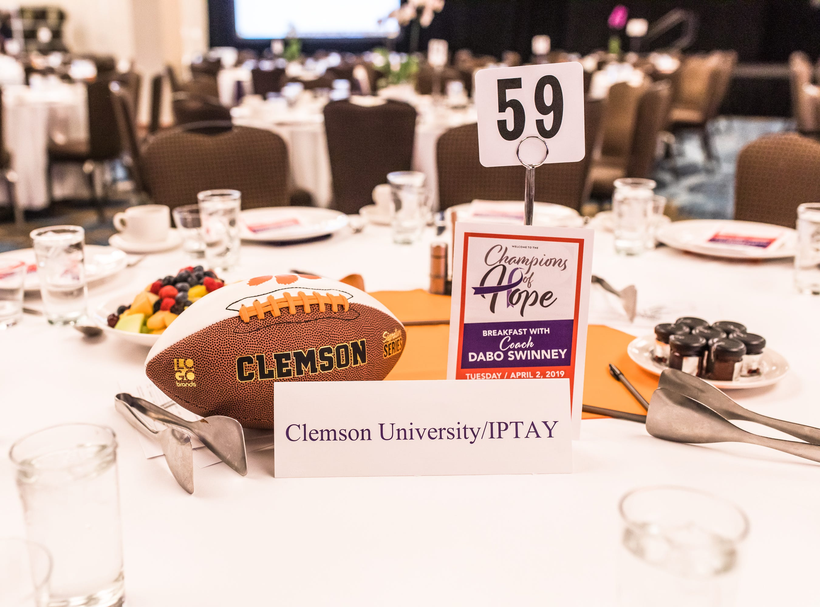 The Champions of Hope Breakfast was a special morning to benefit the Cancer Society of Greenville County. The event was held at the Downtown Hyatt and attendees enjoyed fellowship, a delicious breakfast and guest speaker, Dabo Swinney. Guests loved the rare opportunity to hear the Clemson Coaching Legend speak in person. Swinney shared the secrets of success that helped him lead the Tigers to not one, but two National Championships. It was an inspiring morning to help cancer patients across the Upstate.