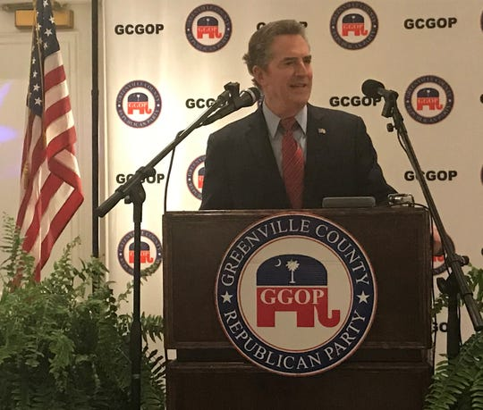 Former U.S. Sen. Jim DeMint speaks to the Greenville County Republican on Monday night.