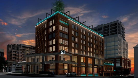 A rendering shows the outside of the AC Hotel by Marriott at Camperdown.