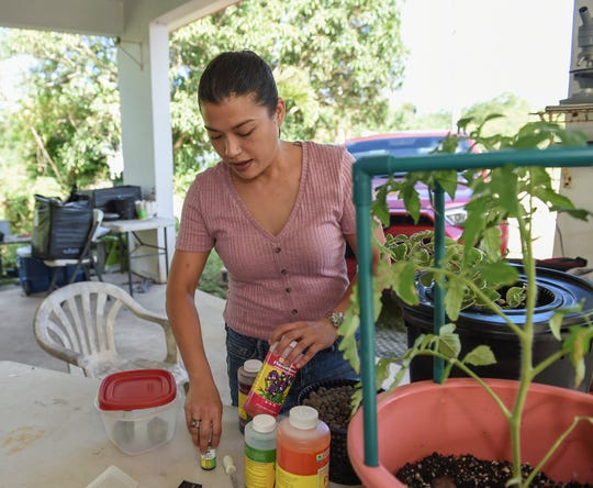 Michelle Crisostomo, Guahan Sustainable Culture president and director displays some of her hydroponics supplies and nutrients mix at Village Micro-Farms in Mangilao, April 1, 2019.