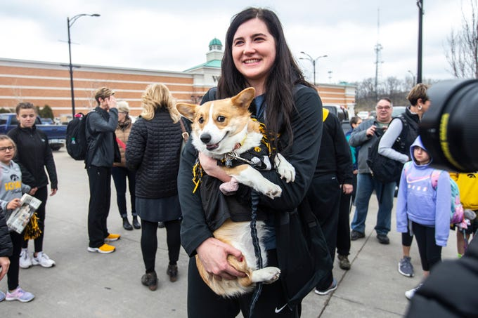 Iowa center Megan Gustafson holds Lennon, a 3-year-old Corgi, while the Hawkeyes Elite Eight women's basketball team is welcomed by fans on Tuesday, April 2, 2019, at Transit Intermodal Facility in Coralville, Iowa.