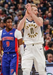 Indiana Pacers forward Domantas Sabonis (11) reacts to receiving his 6th foul during a game between the Indiana Pacers and the Detroit Pistons at Bankers Life Fieldhouse on Monday, April 1, 2019.