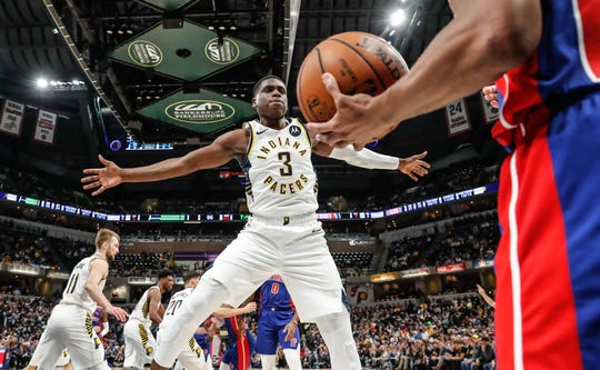 Indiana Pacers guard Aaron Holiday (3) blocks an inbounds pass during a game between the Indiana Pacers and the Detroit Pistons at Bankers Life Fieldhouse on Monday, April 1, 2019.