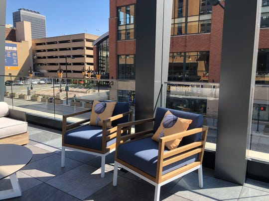 The view from the rooftop bar overlooking Bankers Life Fieldhouse at the dual-branded Hyatt Place and Hyatt House hotels Downtown.