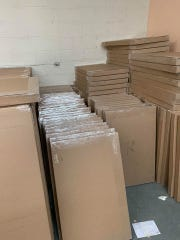 Boxed flags are stacked and ready to ship at the Rustic Flag Company, based in Trenton, Tenn. Owner Justin Scott posted this picture on the company's Facebook page on Feb. 22 along with a plea for patience as the company continues to fill orders.