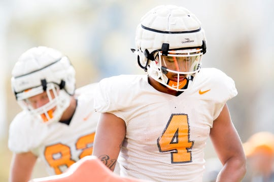 Tennessee's Dominick Wood-Anderson (4) during Tennessee spring football practice at Haslam Field in Knoxville, Tennessee on Tuesday, April 2, 2019.