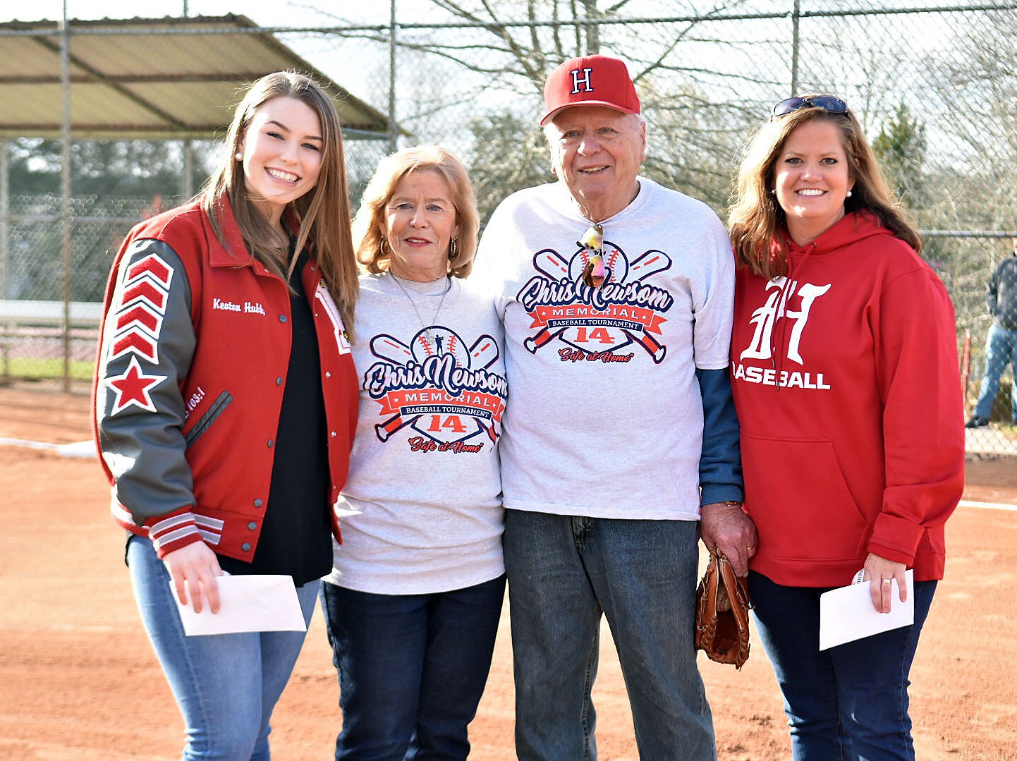 Newsom scholarship winners were named at the opening ceremony of the 2019 Chris Newsom Memorial Tournament at Halls Park. Pictured are scholar Keaton Hubbs, Mary and Hugh Newsom and Kimberly Schoaf, accepting the award on behalf of her son, Will.