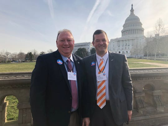 Larry Creasy, principal of Siegel High School in Murfreesboro, and Dr. Chad Smith, Powell High principal, take a moment to enjoy their lobbying trip to Washington, D.C.