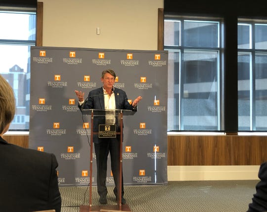 Interim UT System President Randy Boyd speaks at a news conference about Tennessee Promise on April 2, 2019.