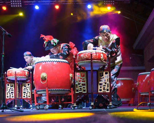 GuGu Drum Group from Shanghai at Festival International de Louisiane. Friday, April 28, 2017.