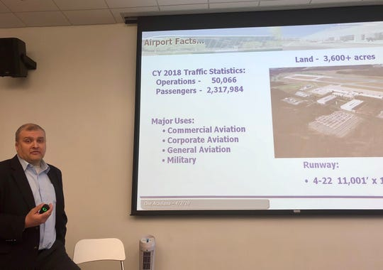 Kevin Howell, senior vice president of Greenville-Spartanburg International Airport, speaks to participants on a One Acadiana leadership exchange trip to Greenville, South Carolina, about the expansion project completed at GSP in 2017.