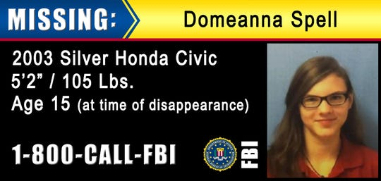 15-year-old Domeanna Spell is missing from her home in Port Barre, Louisiana. The FBI is asking anyone with information about here whereabouts to contact 1-800-CALL-FBI.