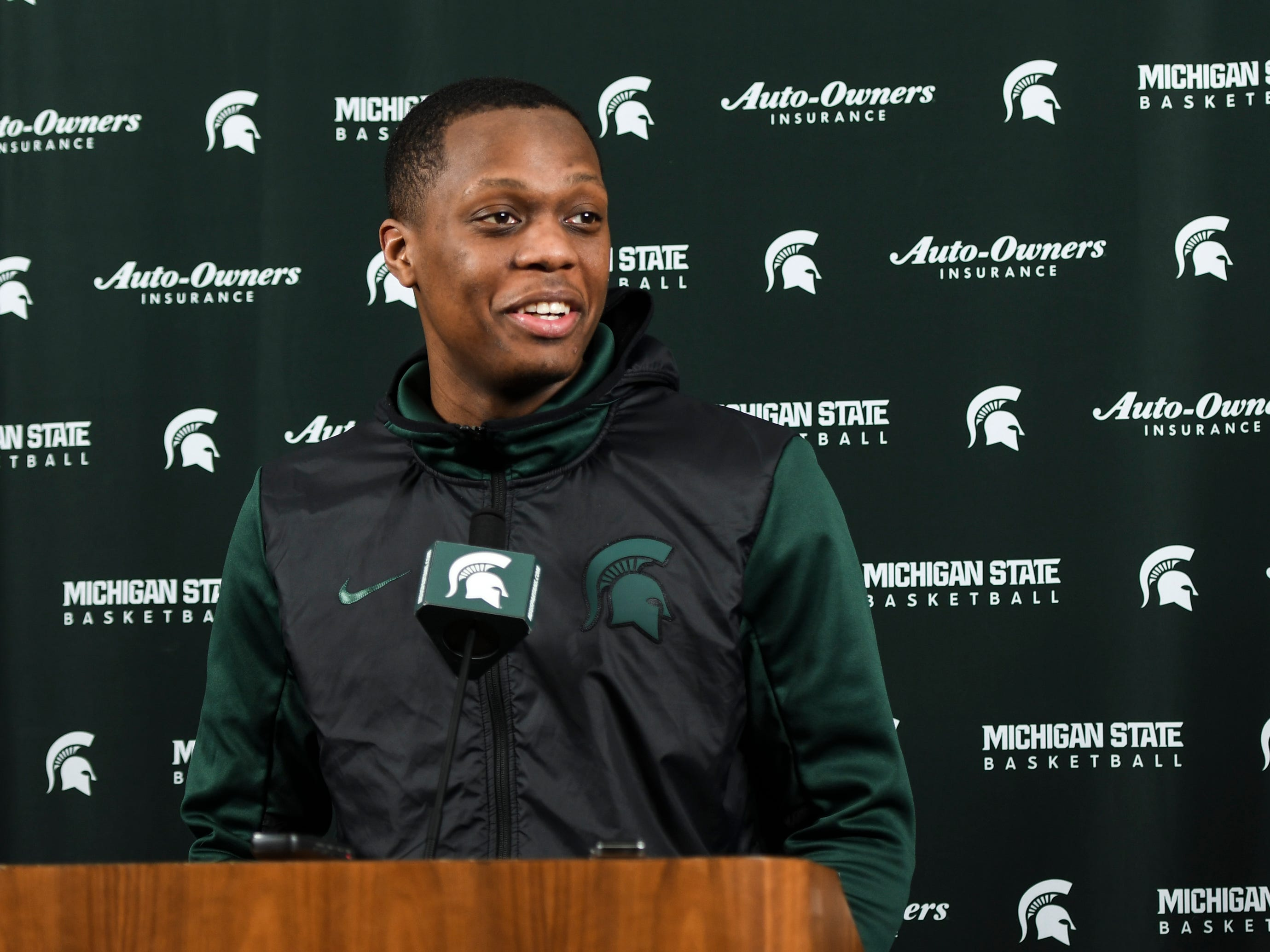 """""""It's a team game, the more you care about your players, your teammates, the better you're gonna be, you can be as talented as you want, but if you're not connected and you don't care about one another, it's not gonna carry you as far,"""" Michigan State point guard Cassius Winston said Tuesday, April 2, 2019, during a presser at the Breslin Center."""
